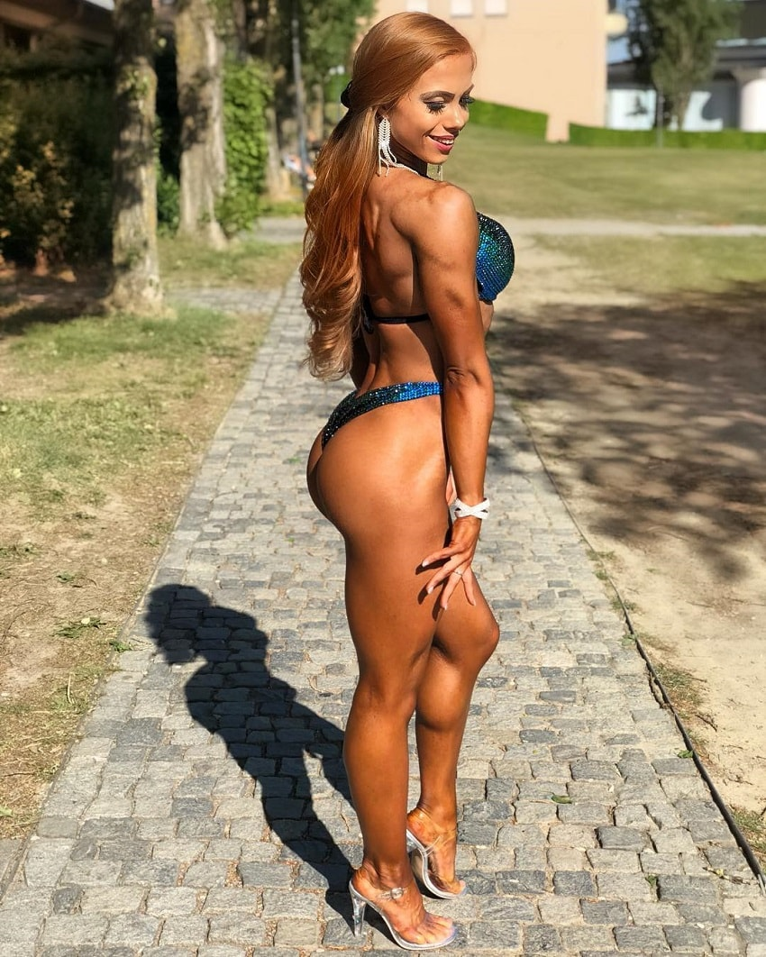 Franziska Lohberger posing outdoors in her bikini outfit