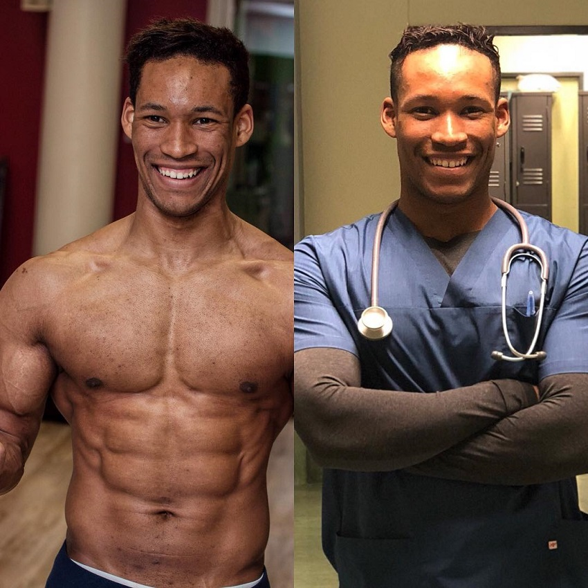 Mike Diamonds' comparison between shirtless and in doctor's uniform
