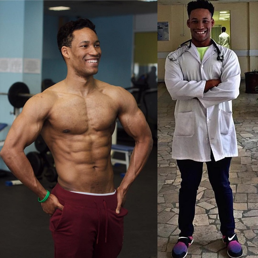 Mike Diamonds shirtless vs in his doctor's uniform