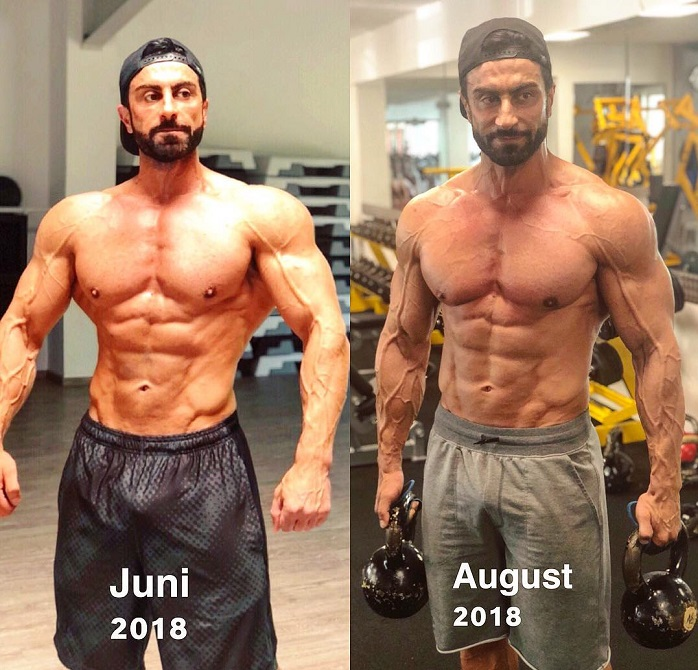 Murat Demir posing in two different pictures, showcasing his transformation over the course of two months