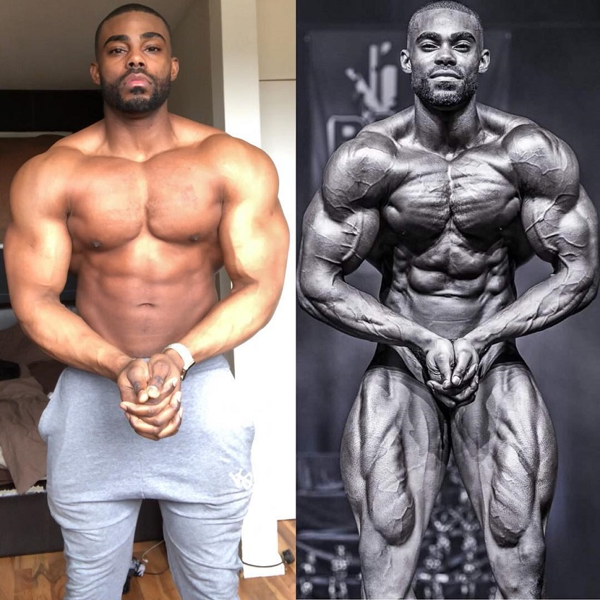 Nathan Williams posing in two different stages, off-season and in-season