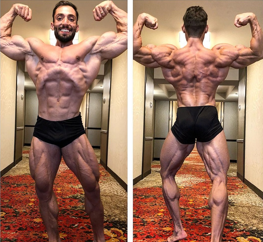Abtin Shekarabi in two different poses looking dry, ripped, and muscular, ready for Mr. Olympia 2018 in Las Vegas