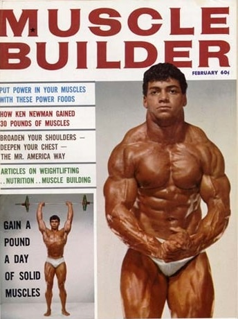 Harold Poole posing shirtless in a bodybuilding magazine