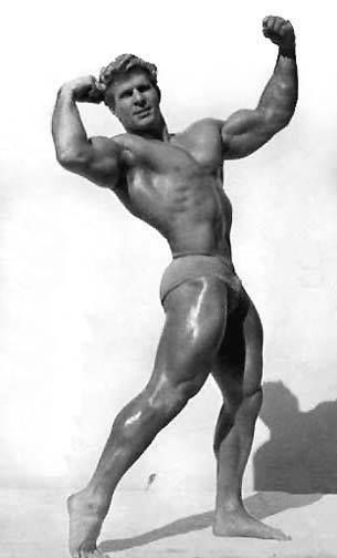 Jack Delinger performing a bodybuilder's pose for a photo