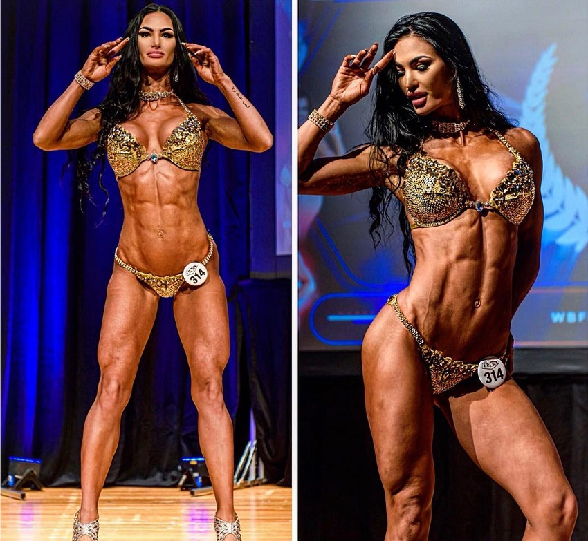 Katelyn Runck standing on the WBFF Fitness stage looking phenomenal