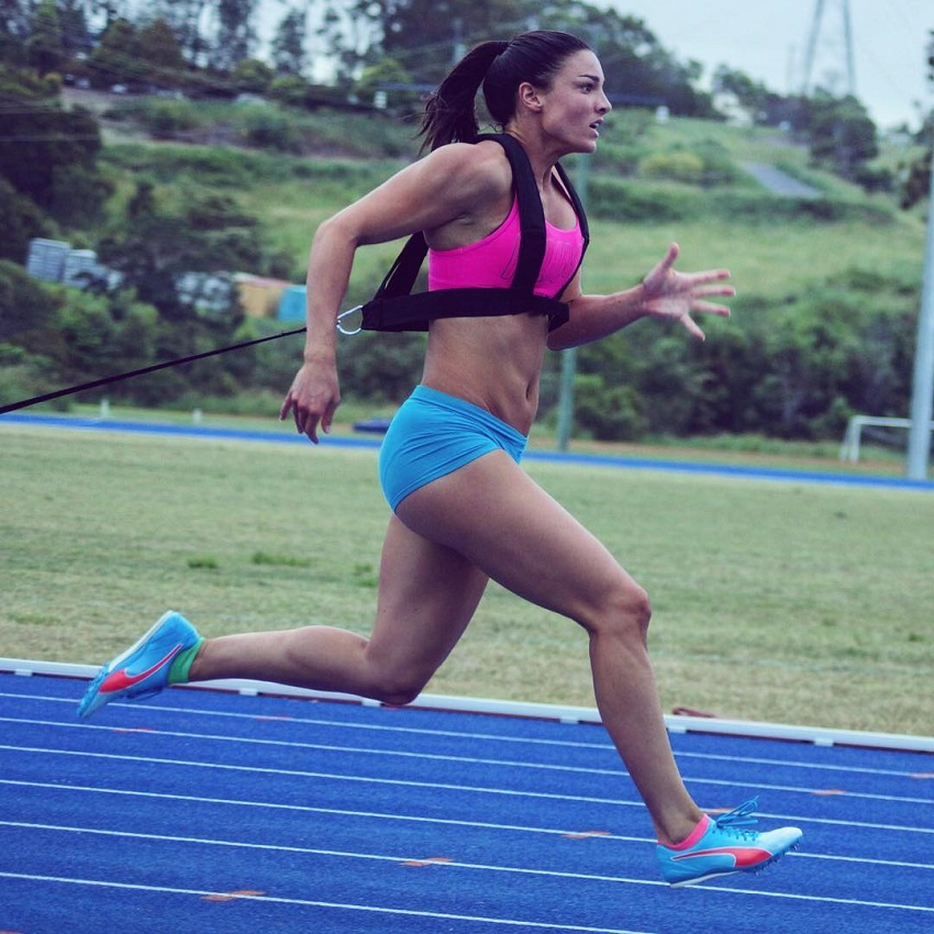 Michelle Jenneke training for hurdles