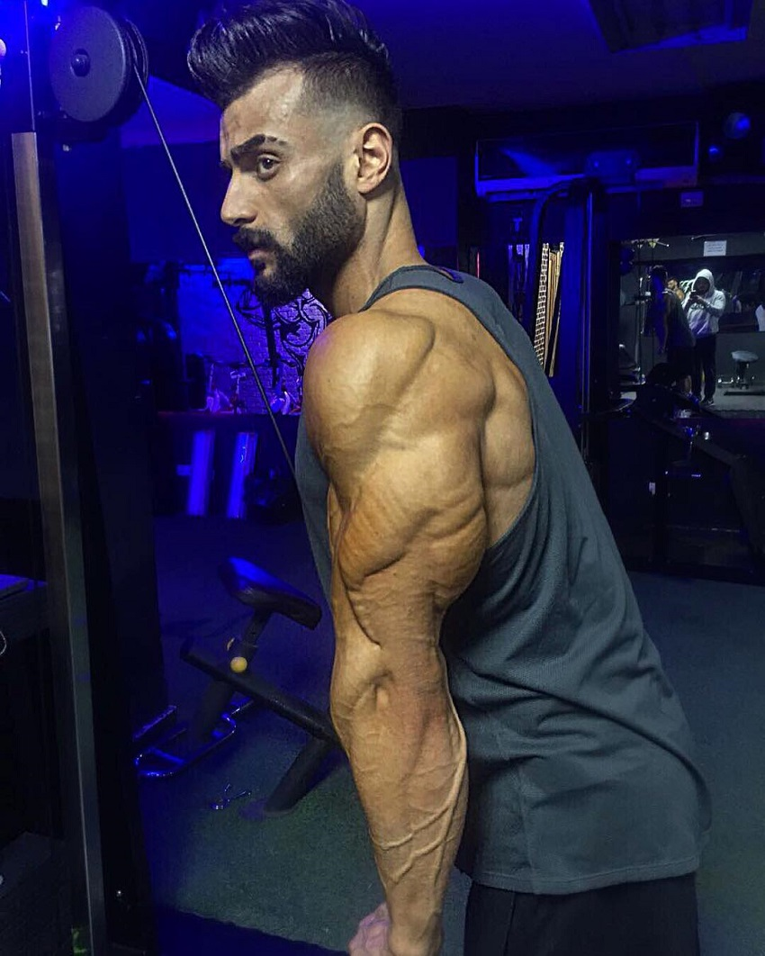 Mohamed El Qadi performing cable extensions, his triceps looking insanely ripped and huge