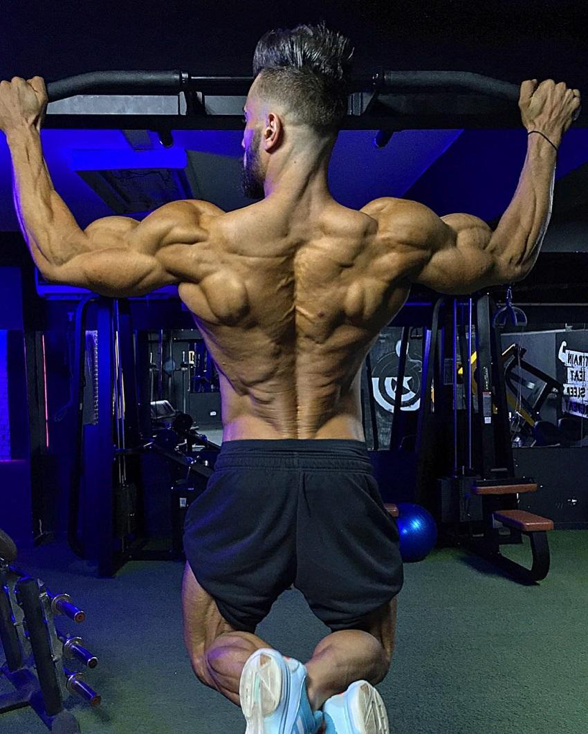 Mohamed El Qadi doing pull-ups looking ripped