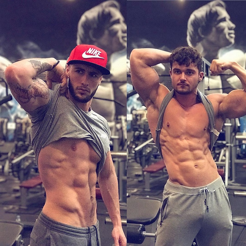 Vince Azzopardi flexing in a gym with Josh Watson
