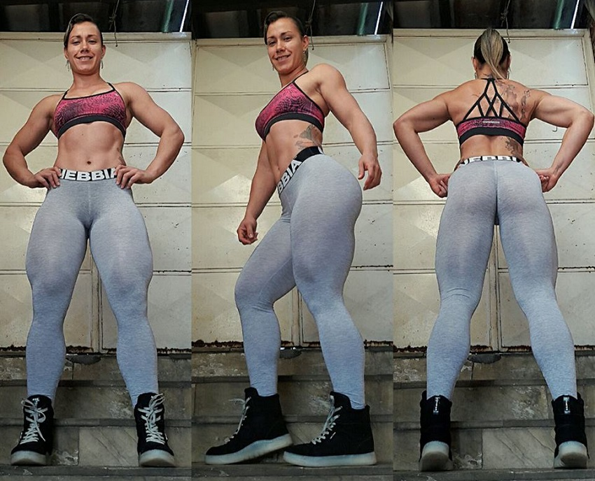 Carla Inhaia in three different poses looking thick and curvy