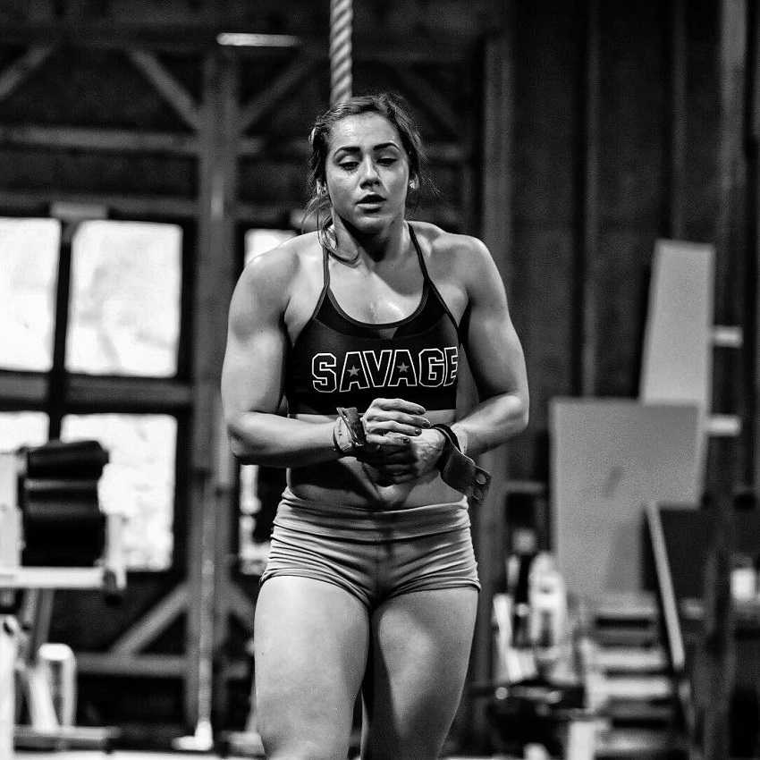 Cristina Bayardelle preparing to do a tough exercise, looking amped up and ready