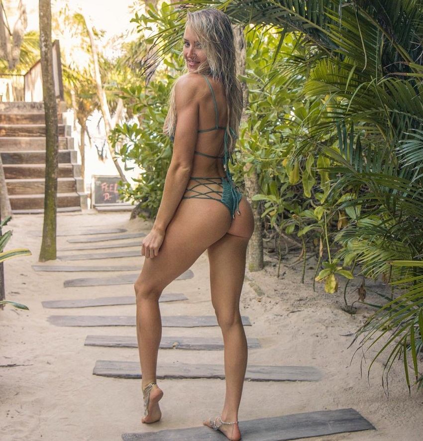Jordan Edwards standing in nature looking curvy and lean