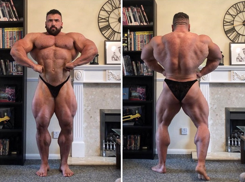 Luke Sandoe in two different pictures, spreading his lats out wide