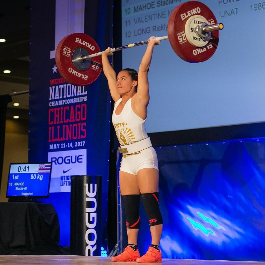 Stacia-Al Mahoe during a powerlifting contest
