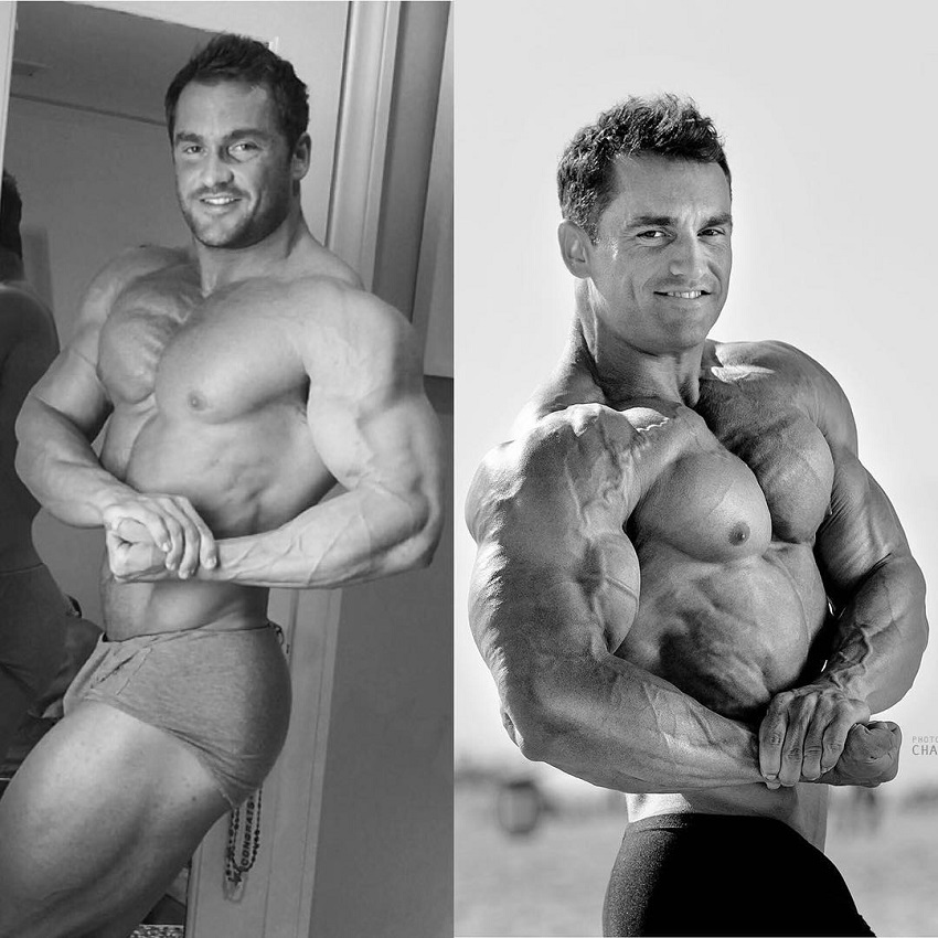 Stanimal De Longeaux doing a shirtless side chest pose, transformation before-after