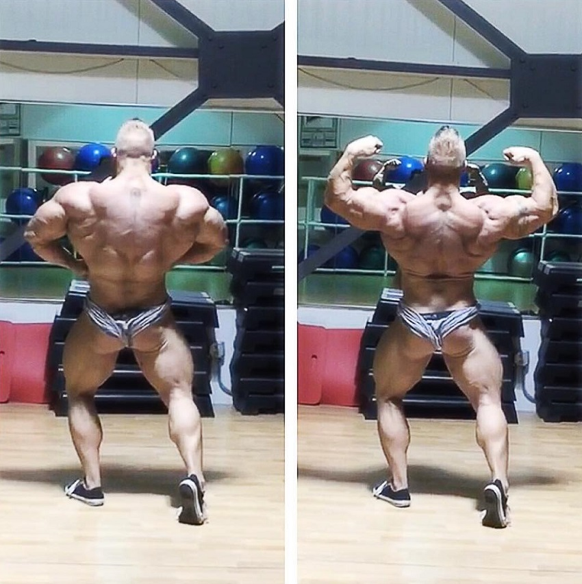 Brandon Beckrich doing a back lat spread and back double biceps pose in two different pictures, looking ripped