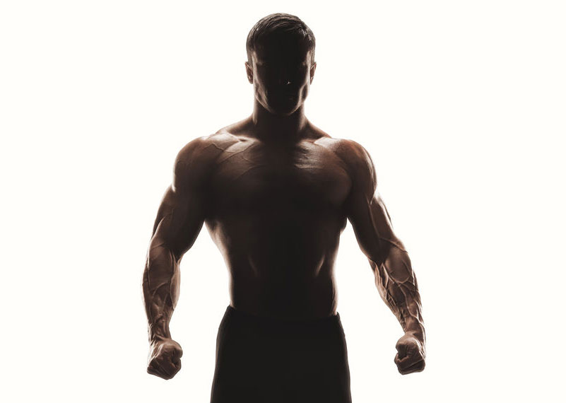 Bodybuilder on white background