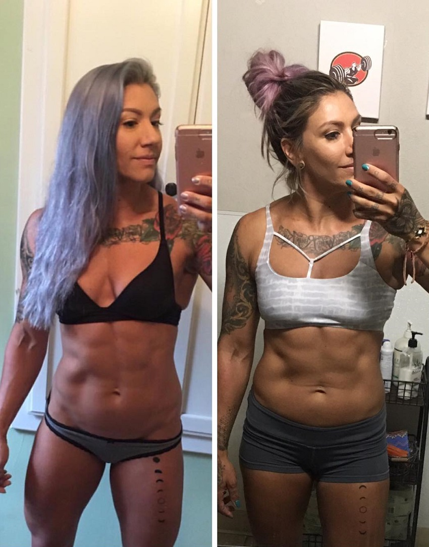 Kat Leone taking a selfie of her lean and toned body