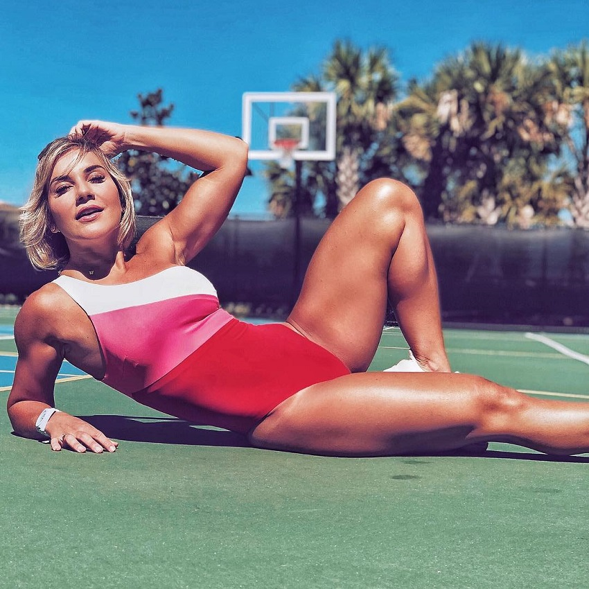 Patricia Costa Santos lying on a basketball field looking fit