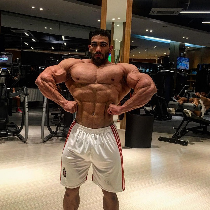 Yasin Qaderi spreading his lats wide for the camera