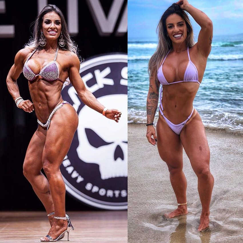 Aline Antiqueira in two different photos, posing in the same bikini on the fitness stage and on the beach