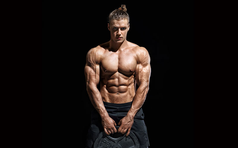 Bodybuilder black background
