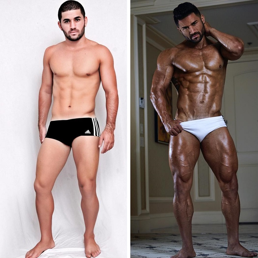 Bremen Menelli posing shirtless in two different pictures, before and after