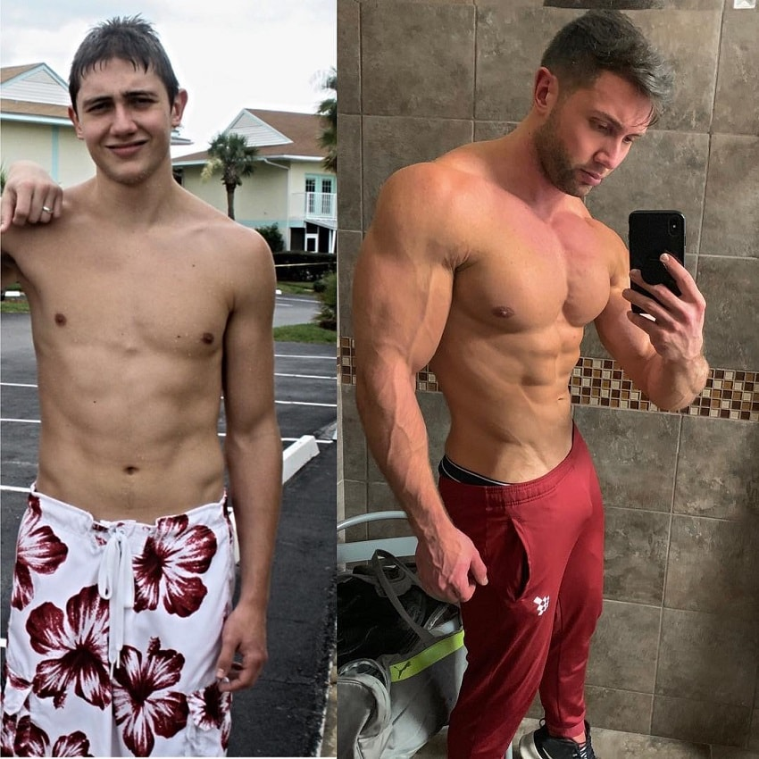 Daniel Zukich's bodybuilding transformation before-after