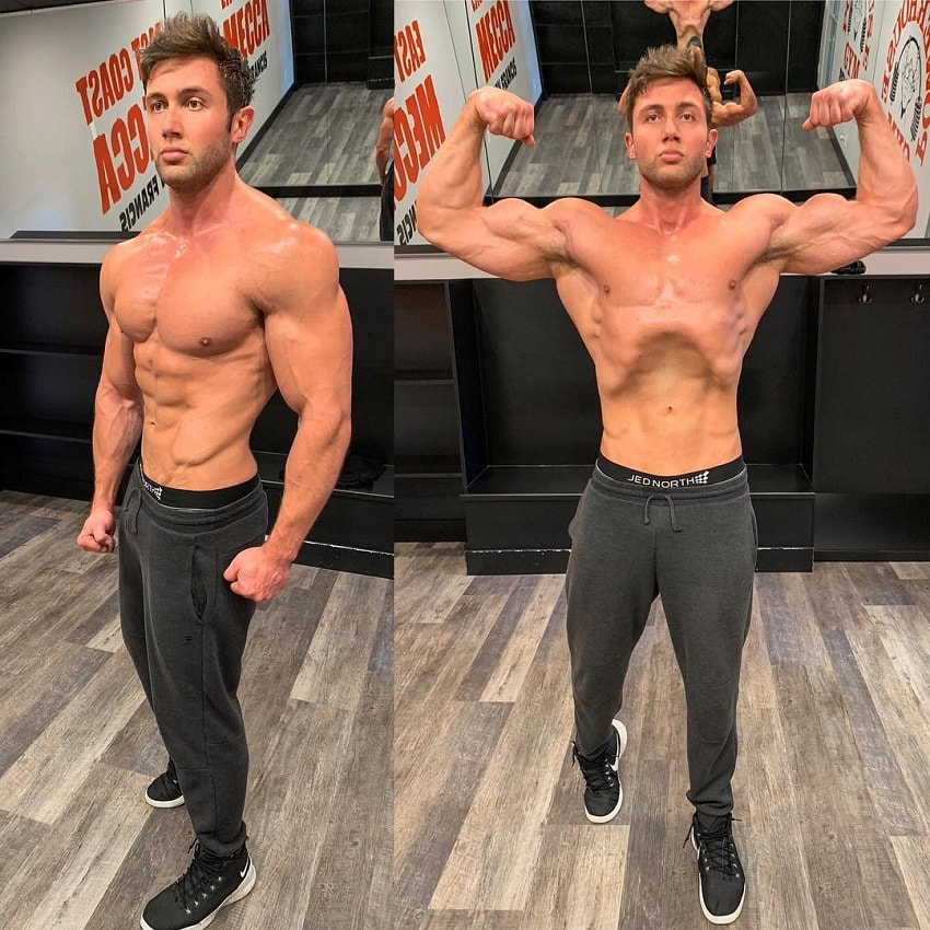 Daniel Zukich flexing his ripped muscles in an empty room