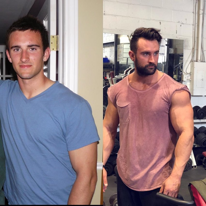 Dylan Thomas transformation in bodybuilding through weight training, before and after