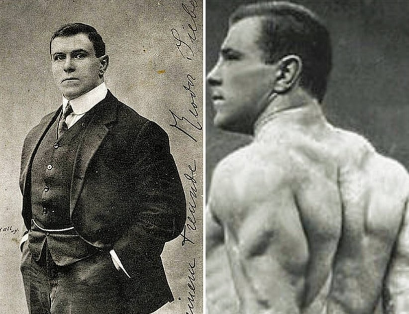 George Hackenschmidt in two different pictures looking strong and muscular