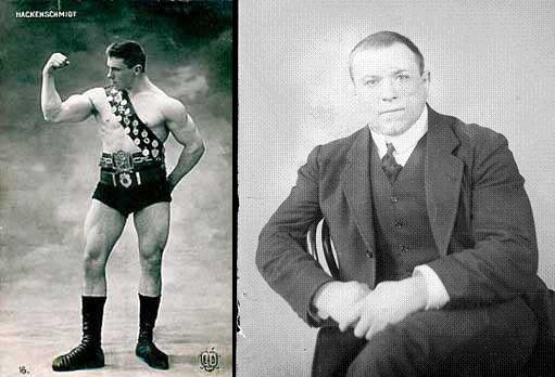 George Hackenschmidt as a strongman and powerlifter, before and after