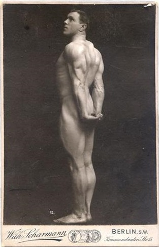 George Hackenschmidt posing shirtless showing off his strong and well-built body