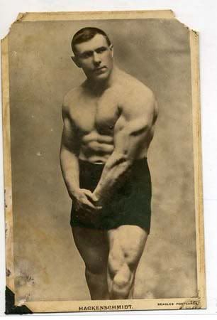 George Hackenschmidt flexing his huge and ripped triceps for the photo
