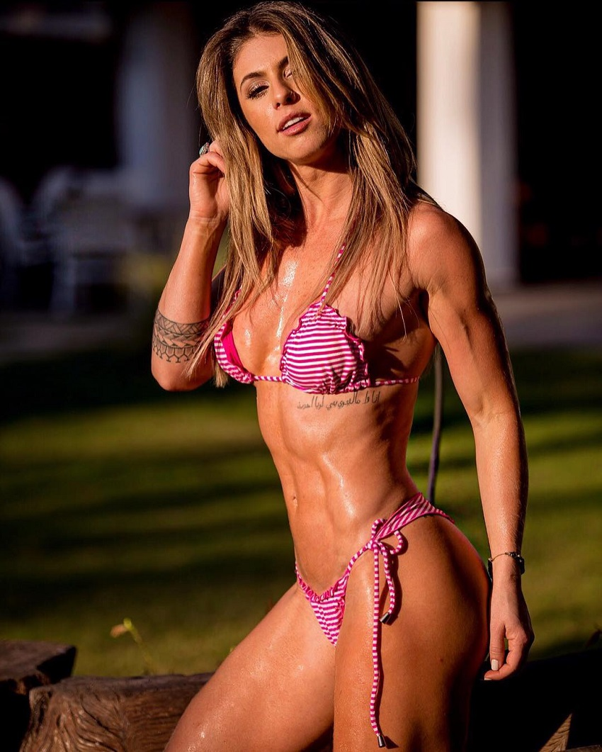 Juliana Martin posing in a bikini, showing off her amazing and lean figure