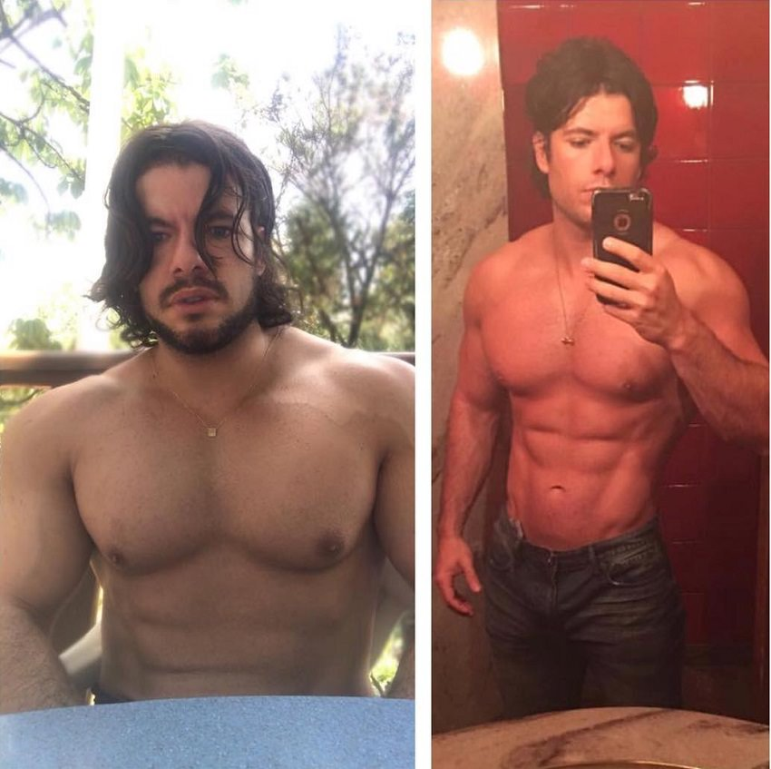Lucas Giovani selfie comparison of his body before and after, looking muscular and lean