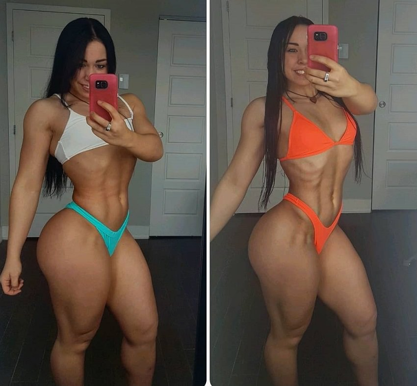 Megane Di Ioia taking a selfie of her awesome figure looking lean and fit