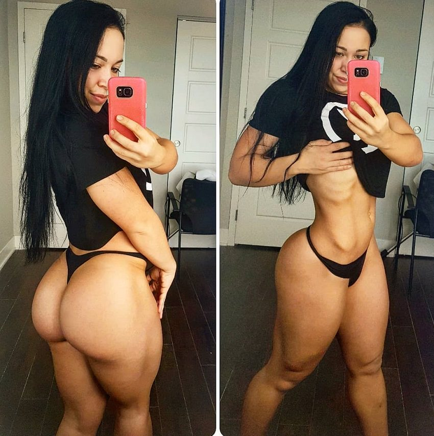 Megane Di Ioia taking a selfie of her awesome physique