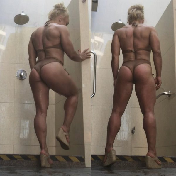 Minna Pajulahtiposing in a bikini wearing heels, looking strong, muscular, and curvy