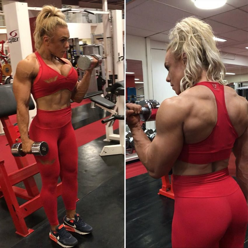 Minna Pajulahti doing biceps curls in a gym looking strong in her red gym outfit