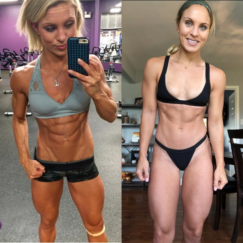 Ashley Nordman before-after physique transformation, from ripped to lean and toned