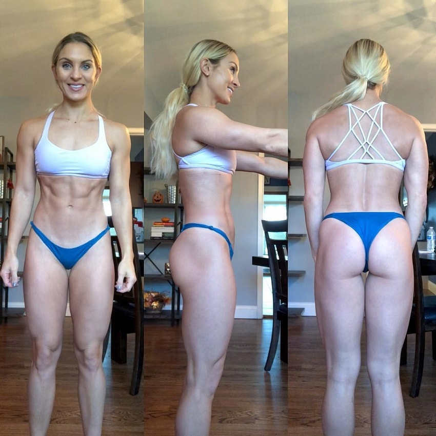 Ashley Nordman posing in a bikini looking fit and lean