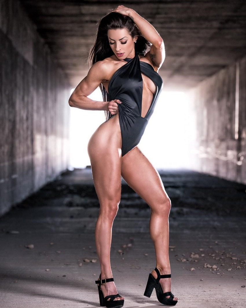 Bruna Montenegro posing in a photo shoot looking toned and muscular