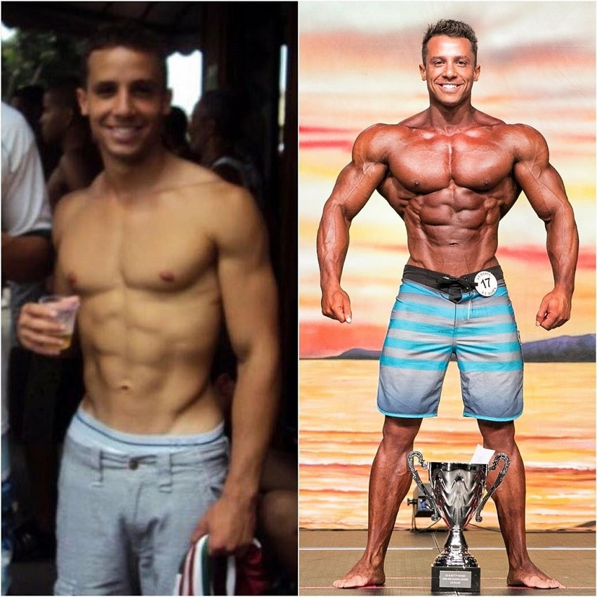 Diogo Montenegro's transformation in bodybuilding, before-after