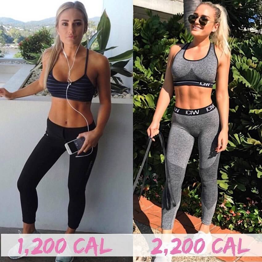 Georgie Stevenson fitness transformation from 1,200kcal to 2,200kcal per day