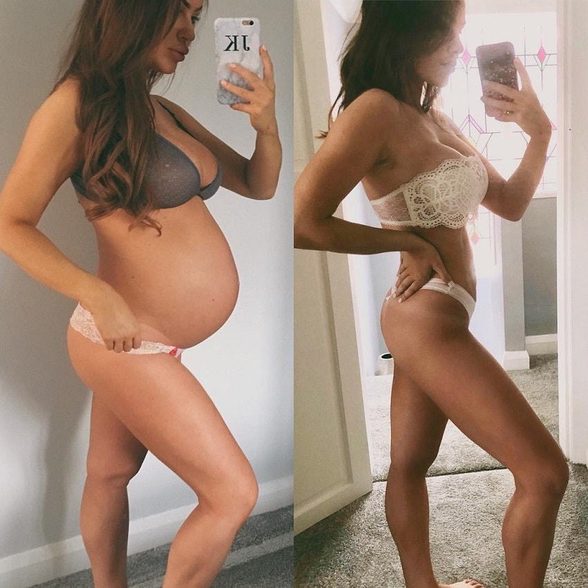 Jade Katy before and after pregnancy photos, looking fit and awesome