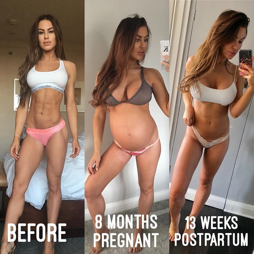 Jade Katy's body transformation before, during, and after pregnancy