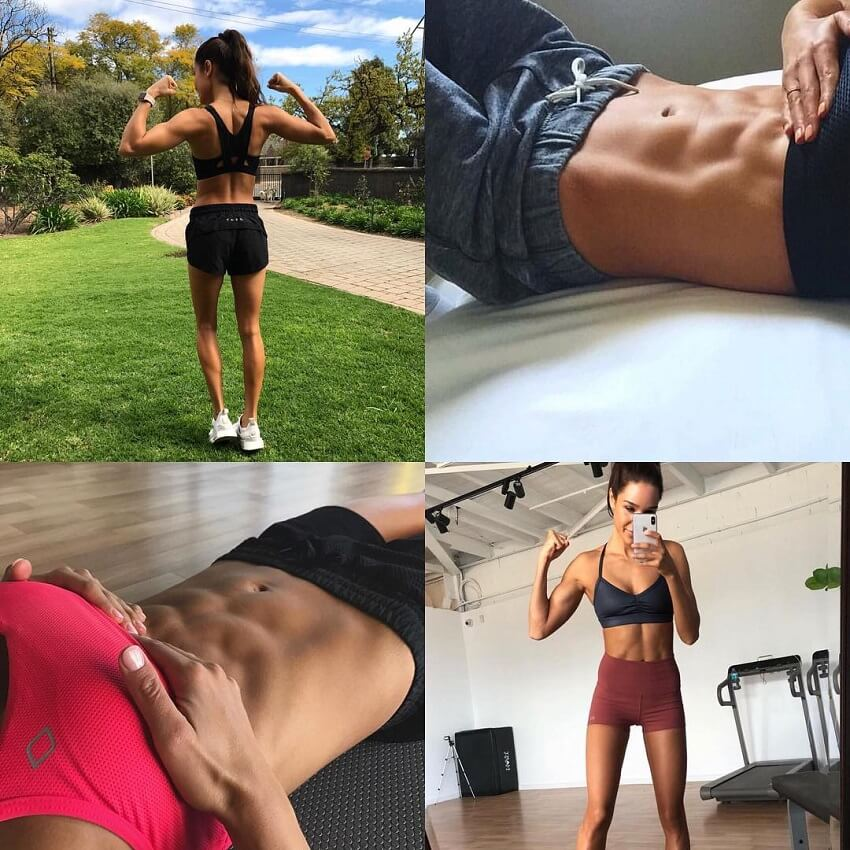 Kayla Itsines multiple pictures of her ripped abs