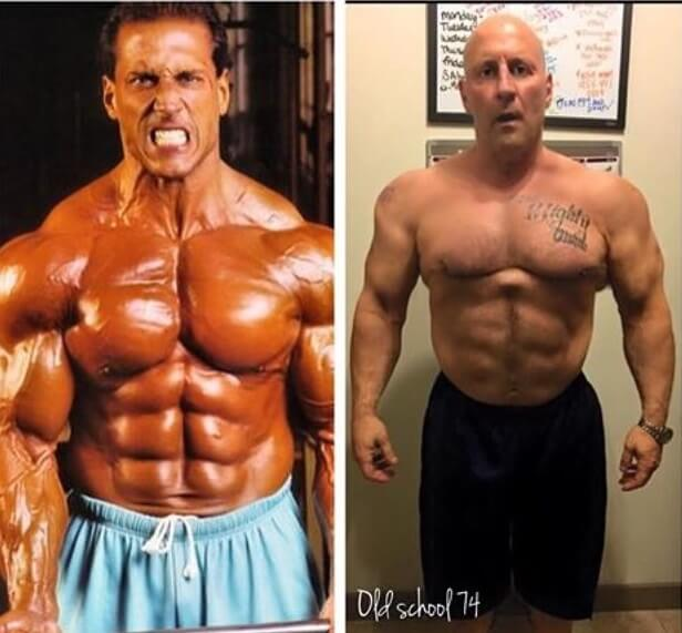 Mike Quinn posing shirtless before-after