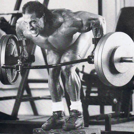 Mike Quinn doing heavy barbell rows